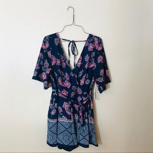 NWT Navy Pink and White Printed Romper